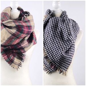 Reversible Plaid/Houndstooth Blanket Scarf